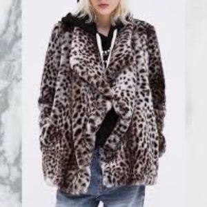 Zara faux fur grey leopard coat